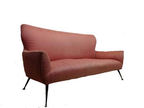 1950s Italian sofa with brass legs