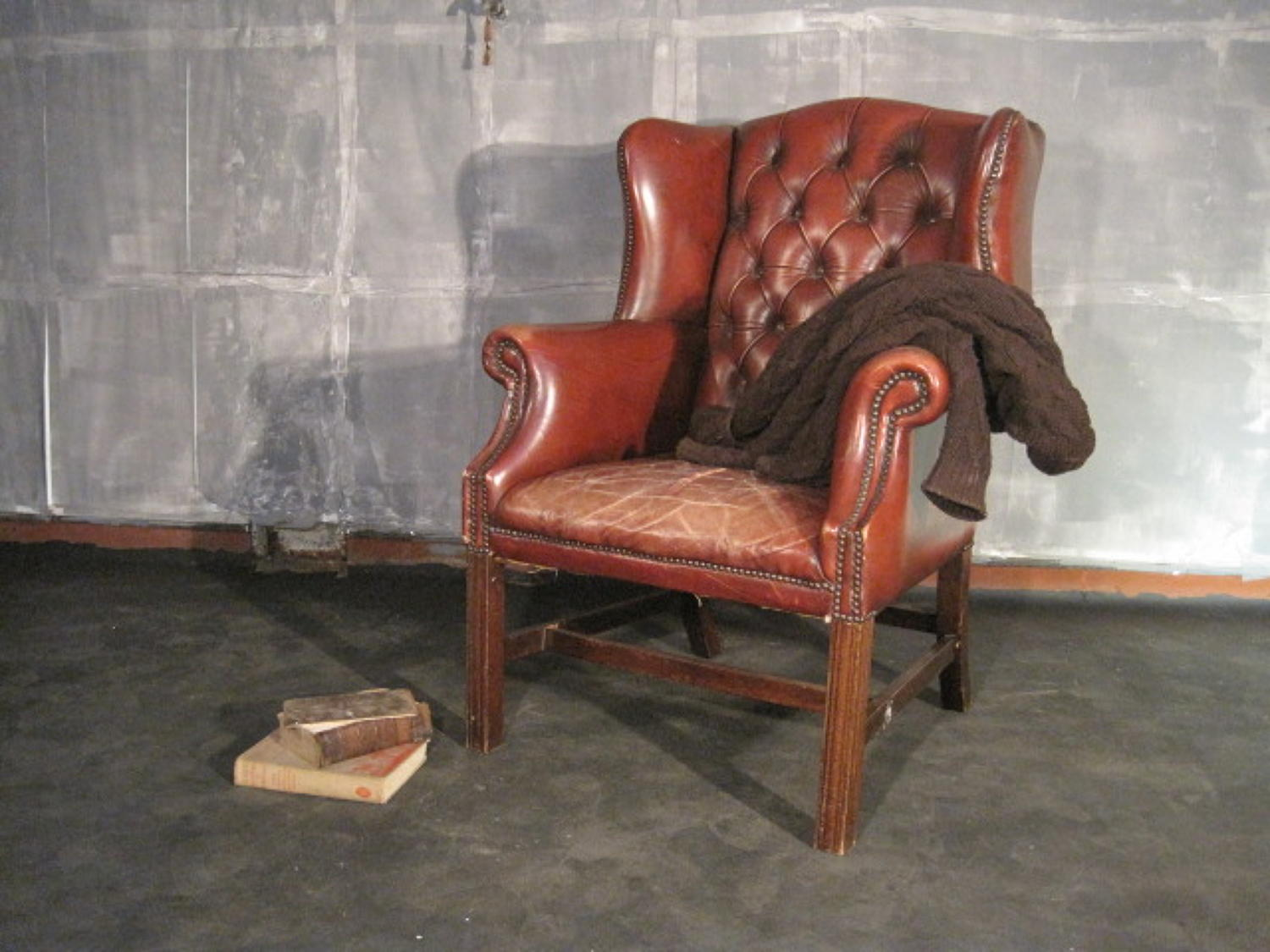 Leather wing armchair