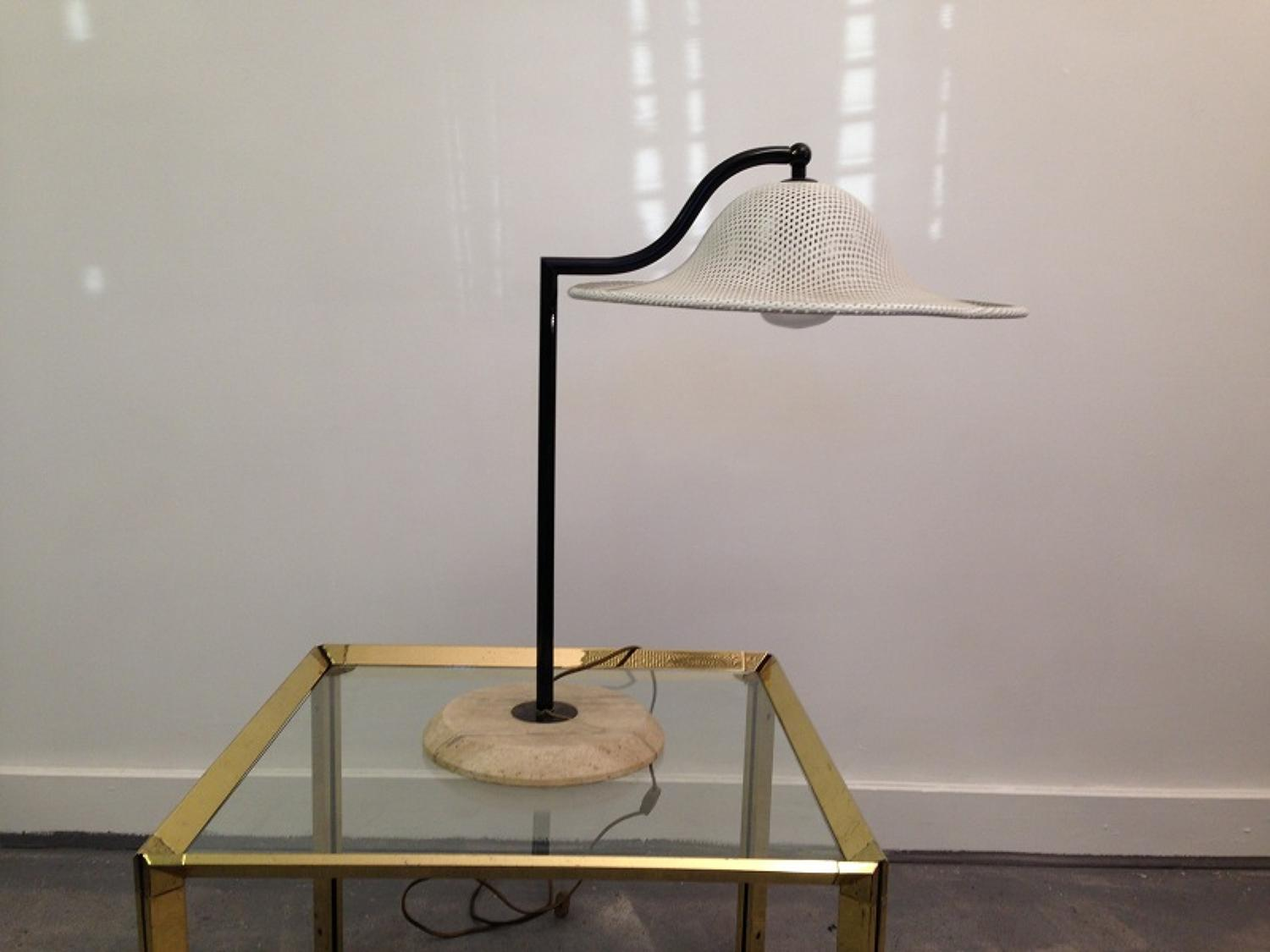 Perforated metal and stone table lamp