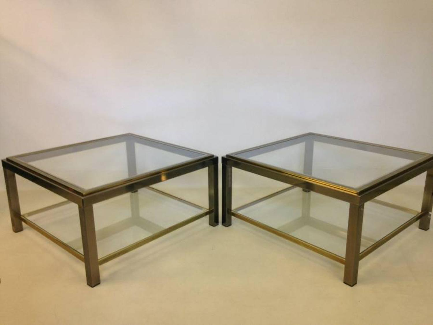 A pair of  steel and gold lacquered side tables