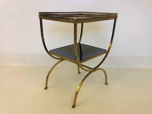 French brass and black glass side table