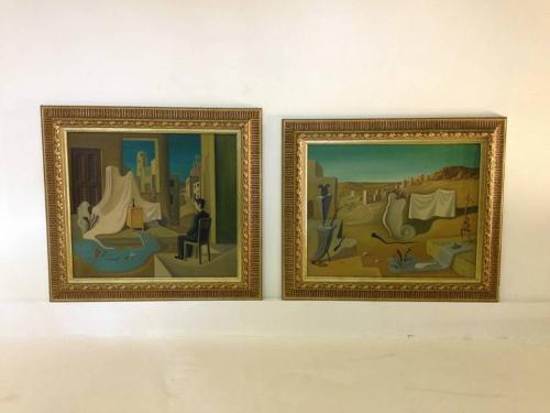 A pair of surrealist oil paintings