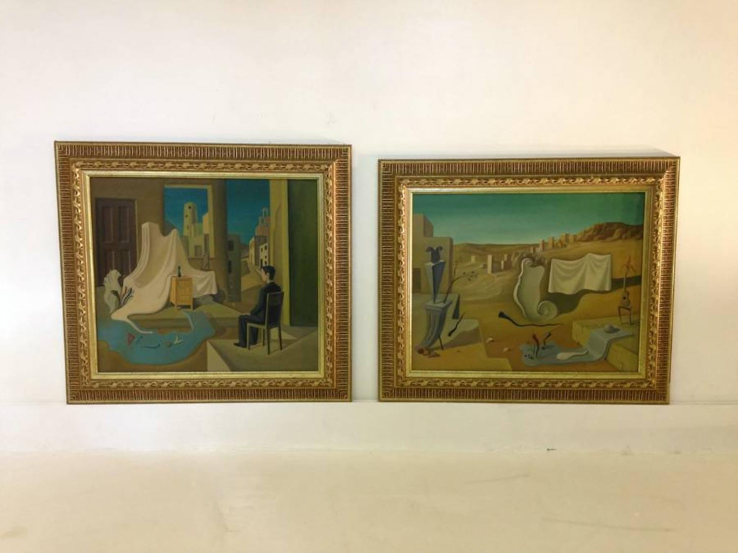 A pair of surrealist oil paintings