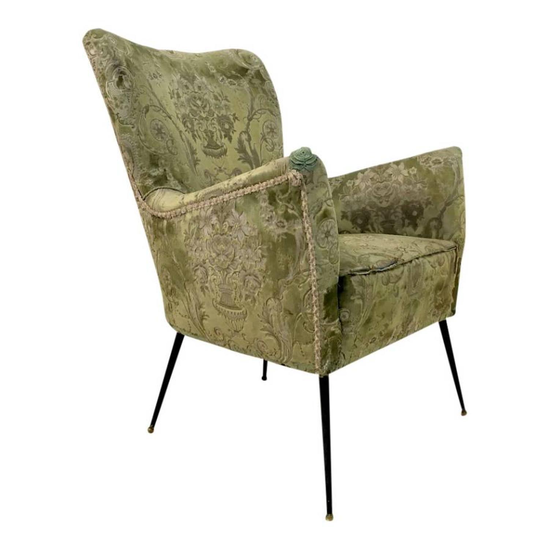 Single Italian chair with slender brass legs