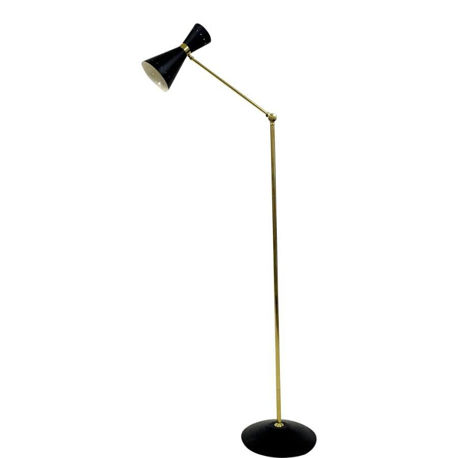 1950s style brass and black diabolo floor lamp