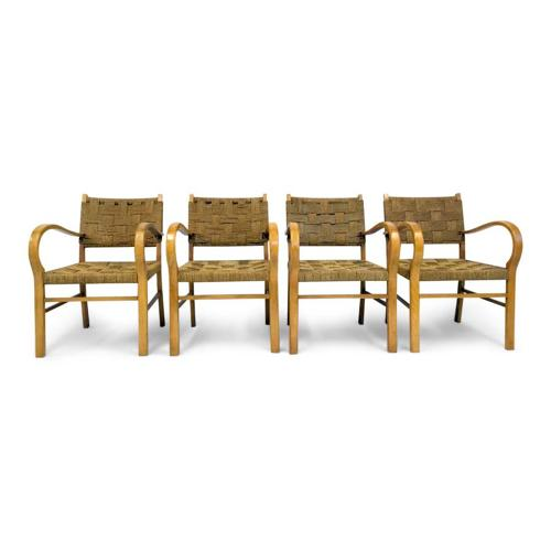 Four French 1950s beech and rope bridge chairs