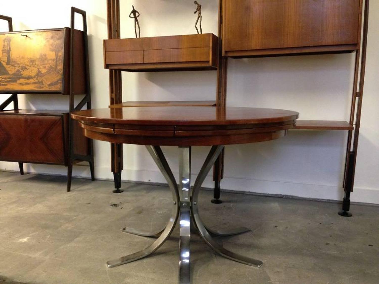 Teak and chrome flip flap dining table