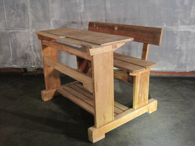 Vintage pine school desk