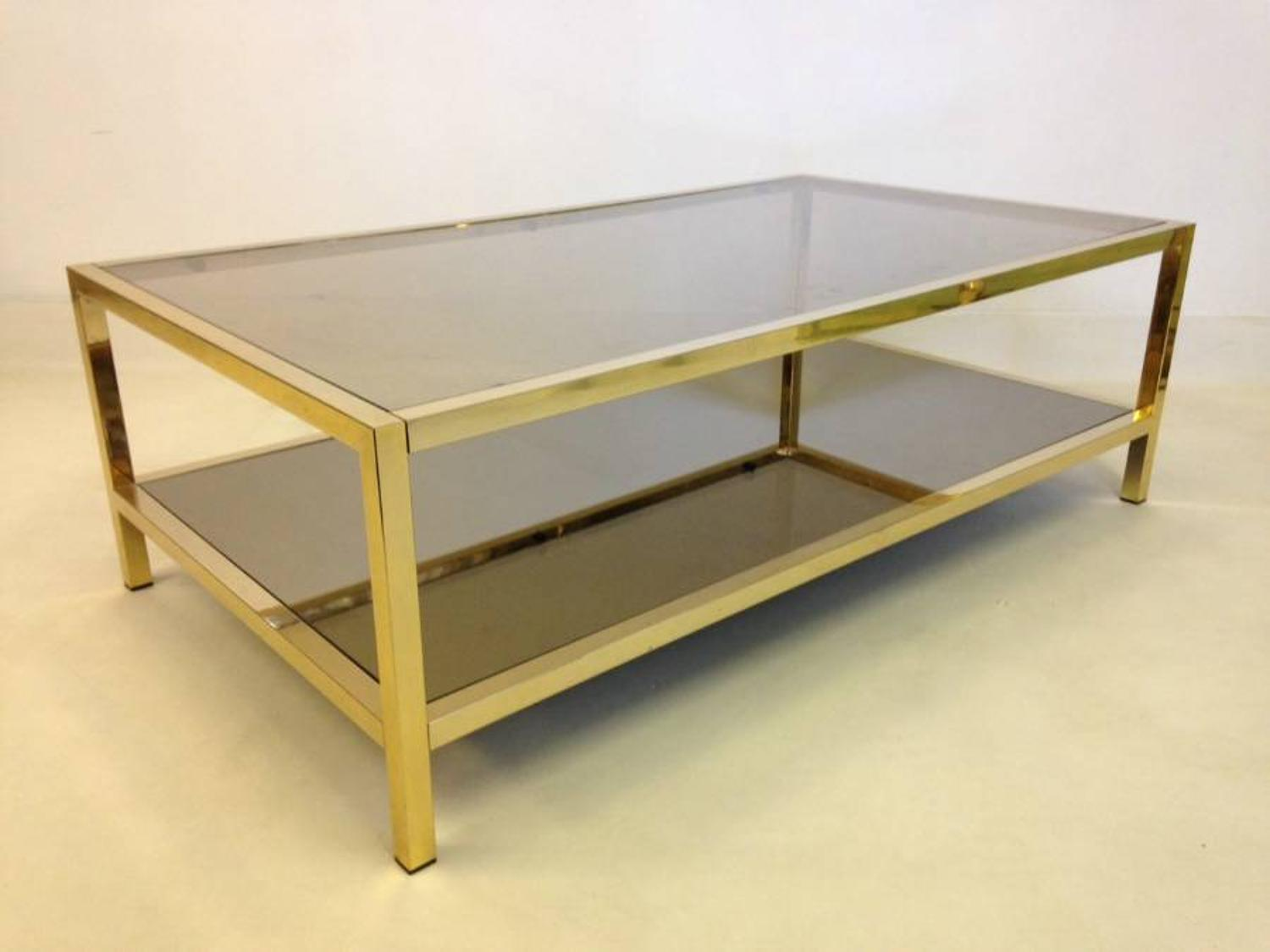 Two tier gold lacquered metal coffee table