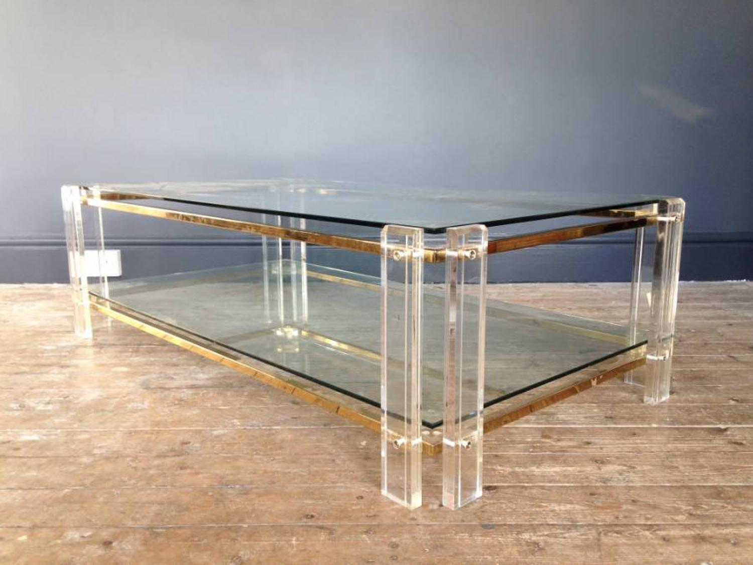 Lucite and gilt metal coffee table