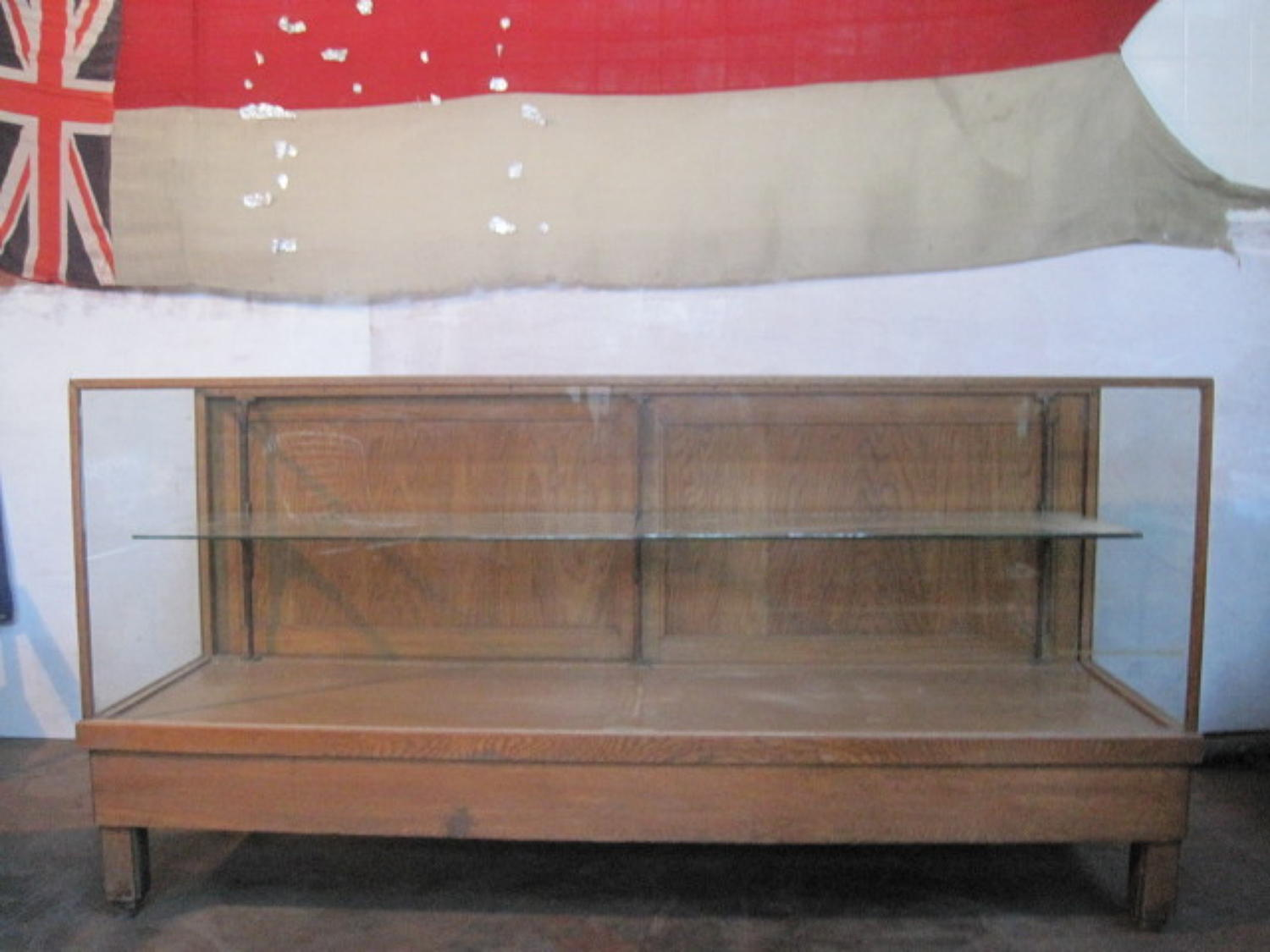 Oak and glass shop counter  cabinet