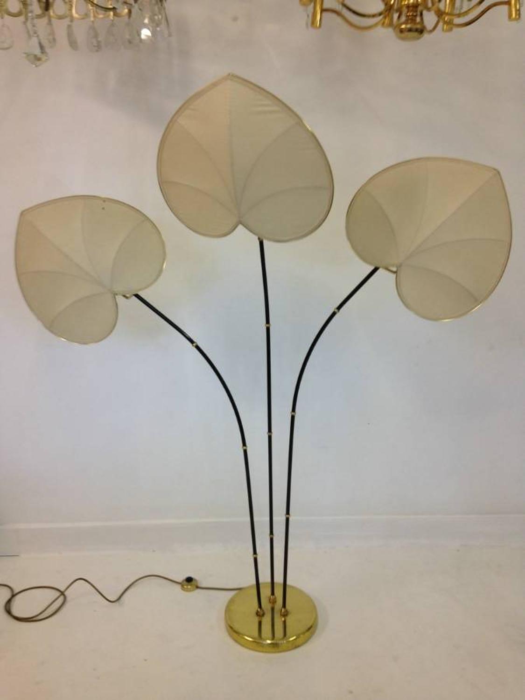 Italian floor lamp with petal shaped shades