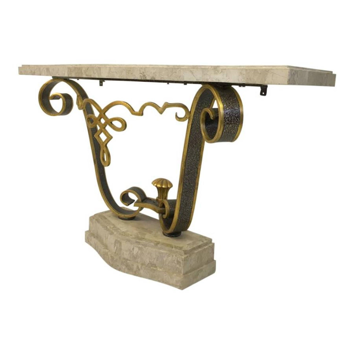 Tessellated stone console table by Maitland Smith