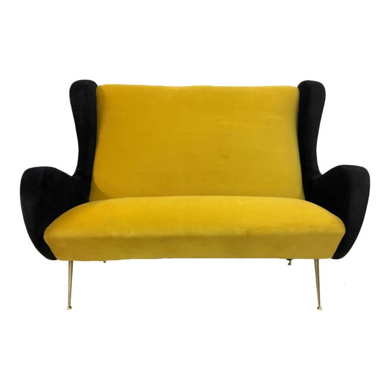 1950s Italian mustard and black velvet sofa