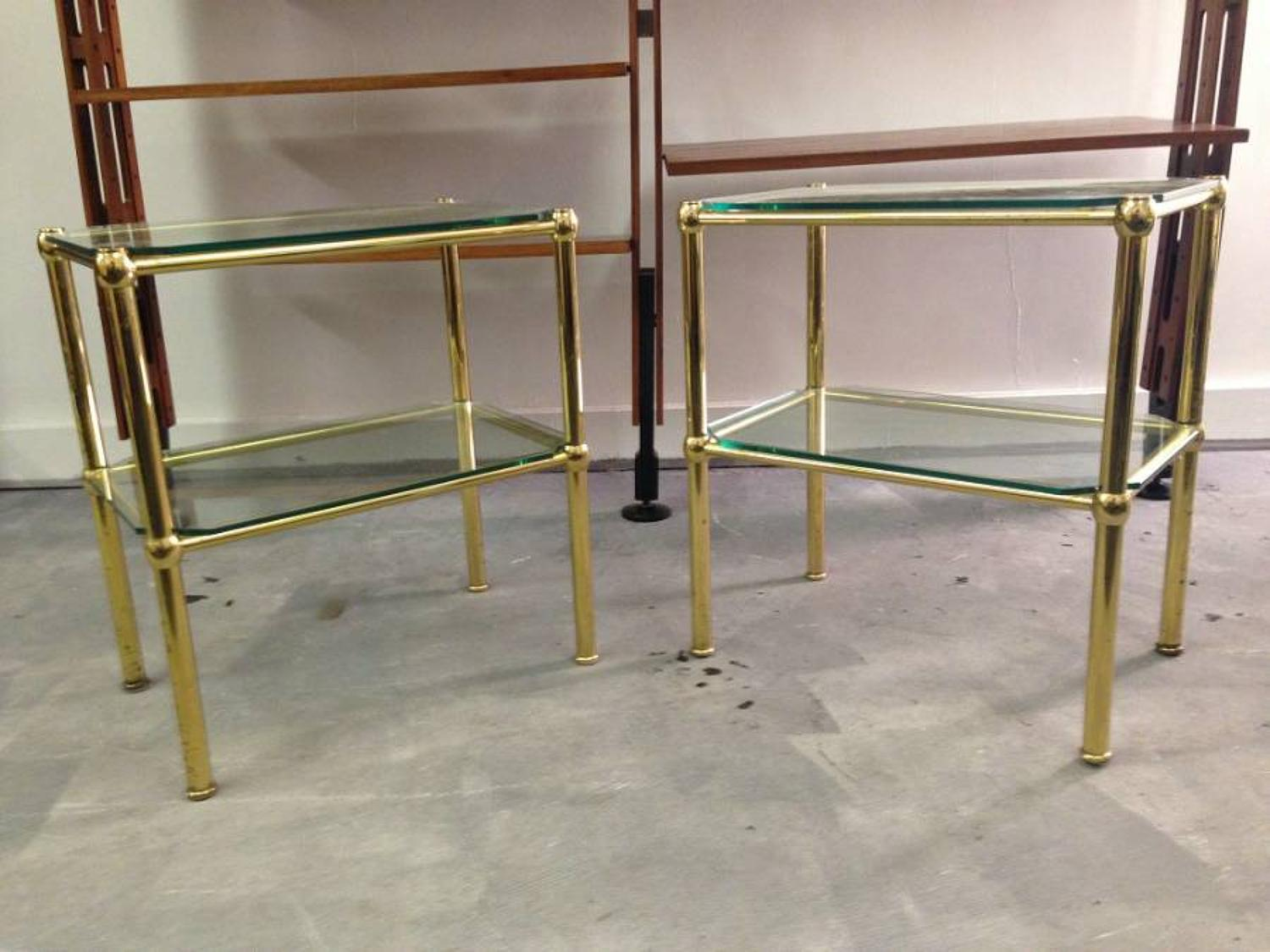 Brass and glass side tables
