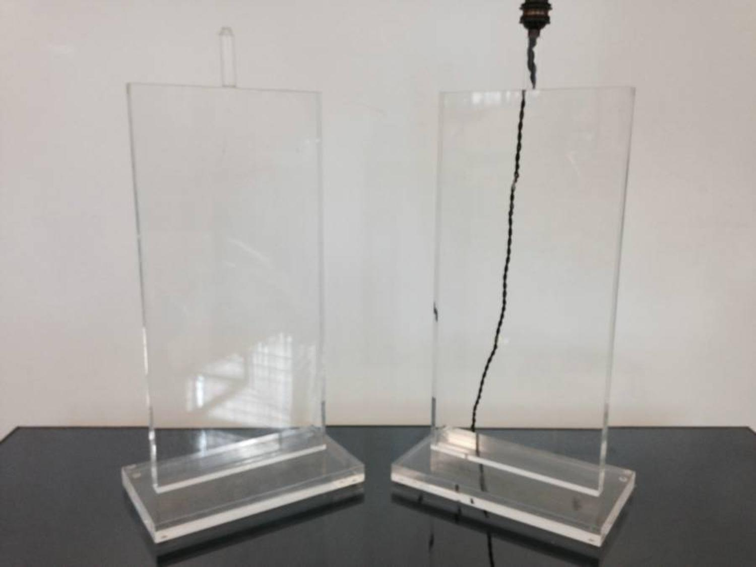 A pair of French lucite table lamps