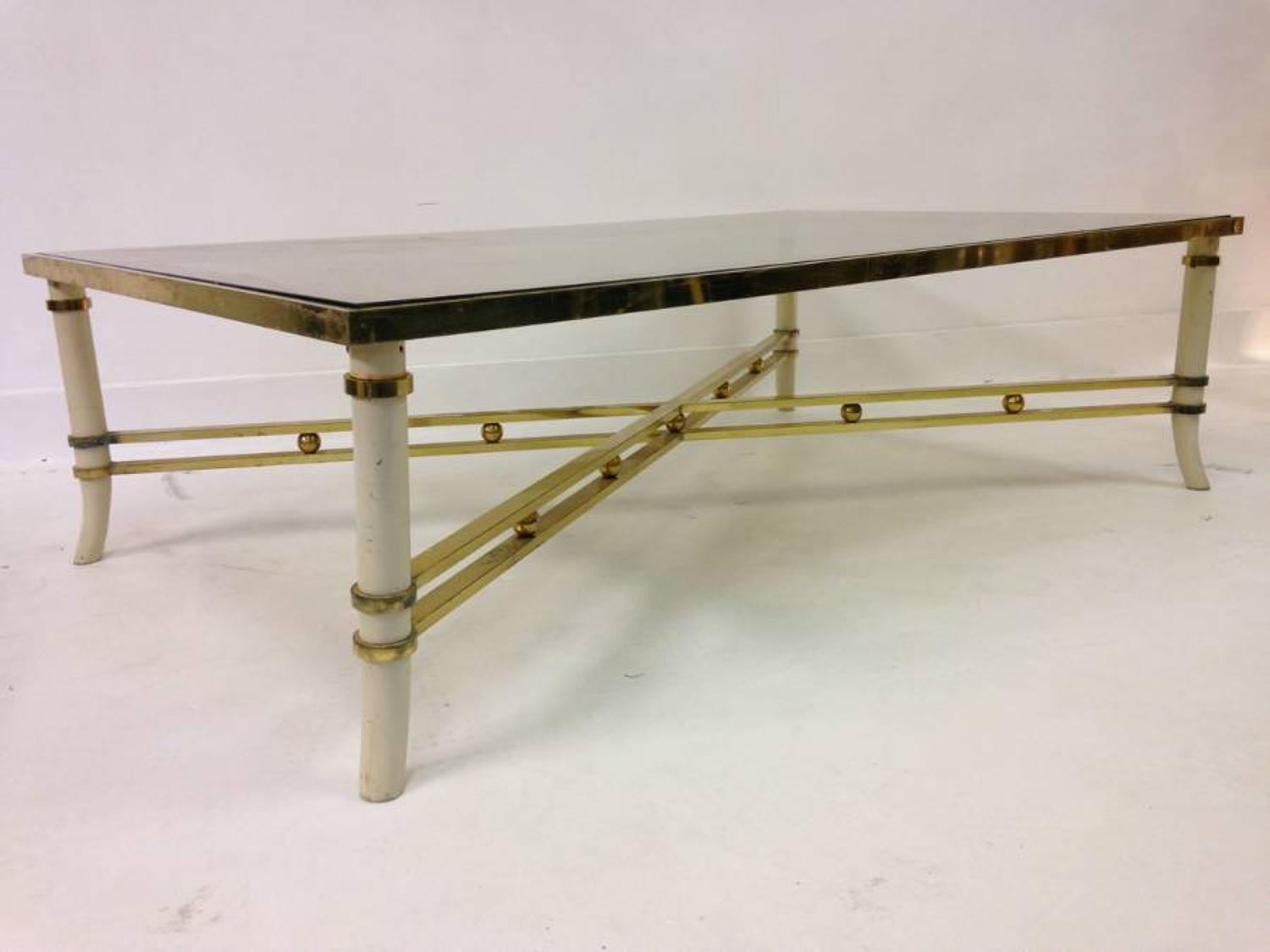 Italian brass and lacquered metal coffee table