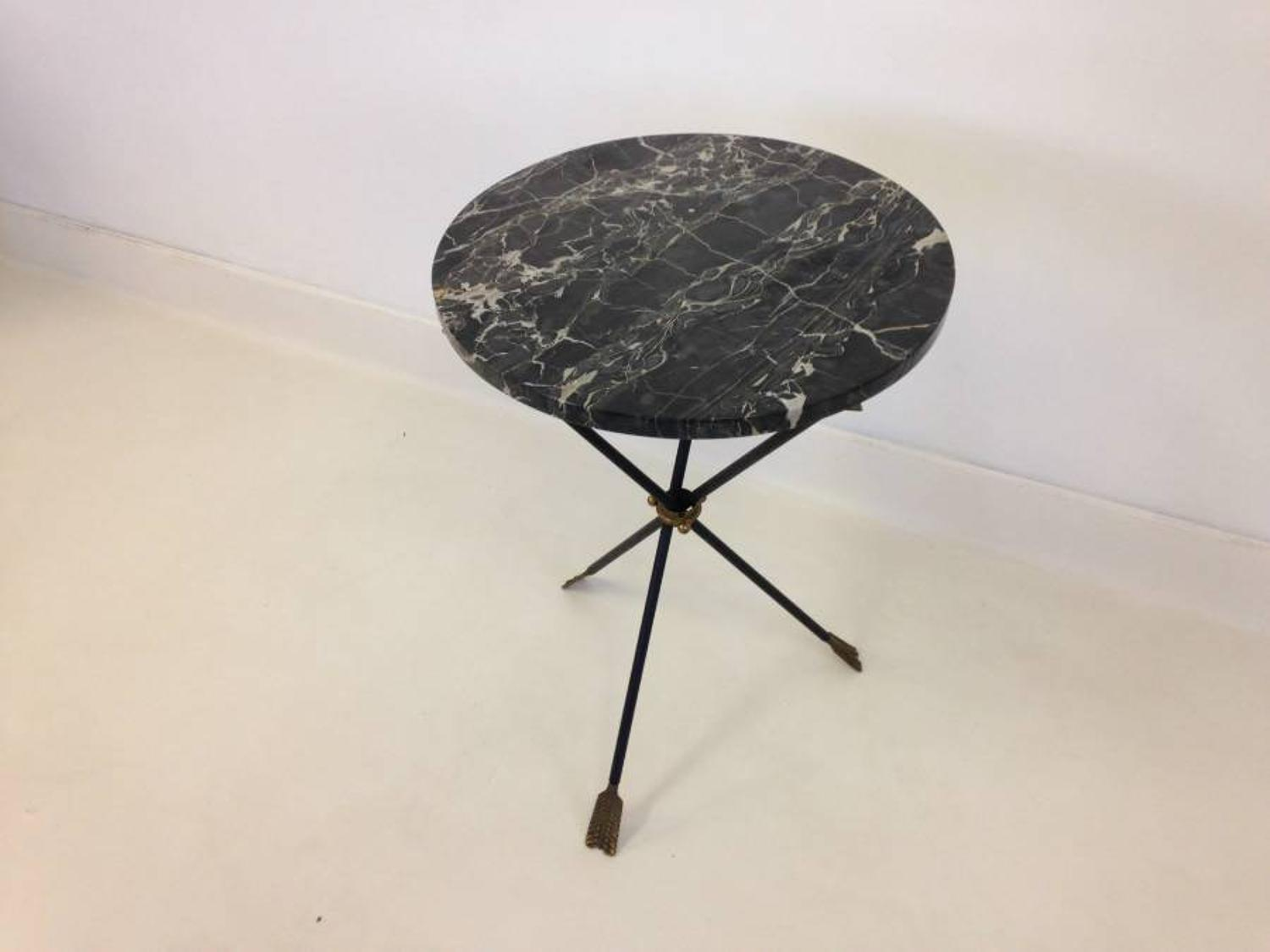 1950s marble table with three arrow base