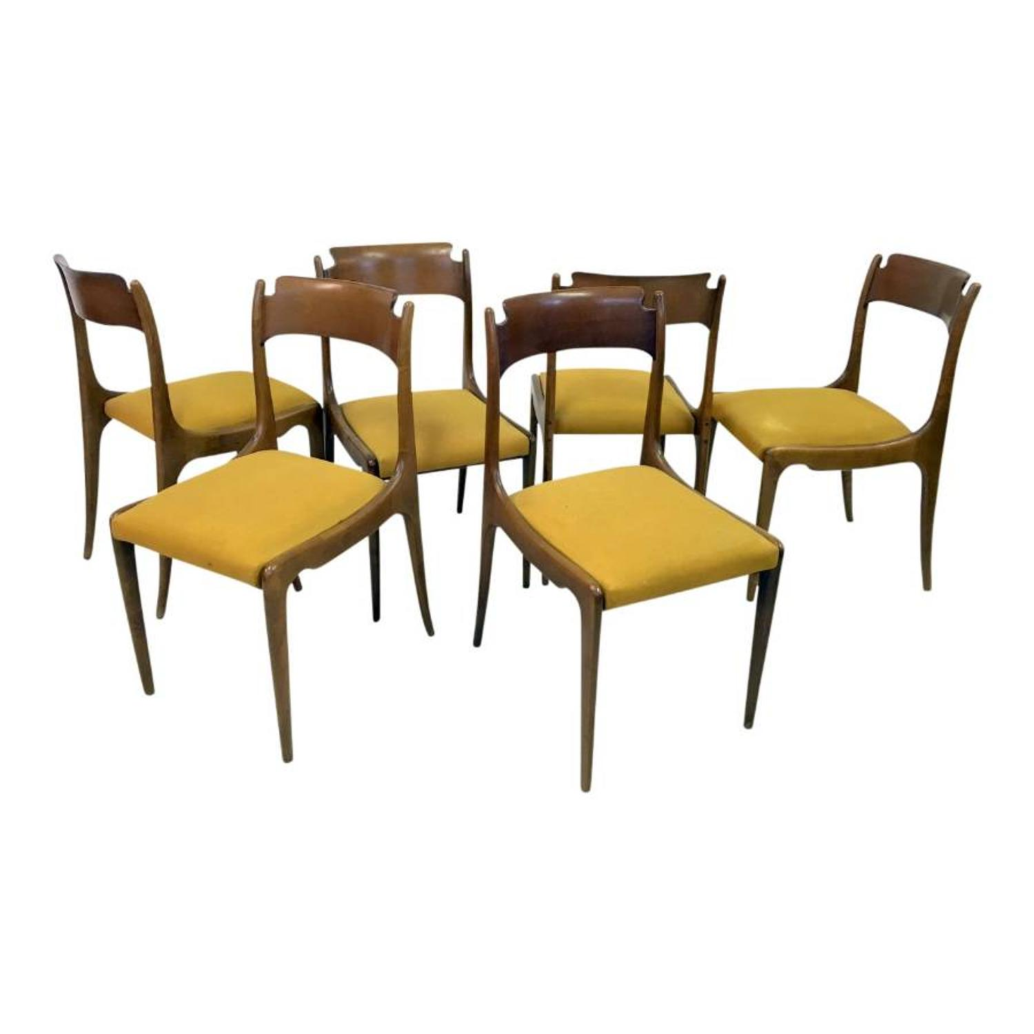 A set of six 1950s Italian dining chairs