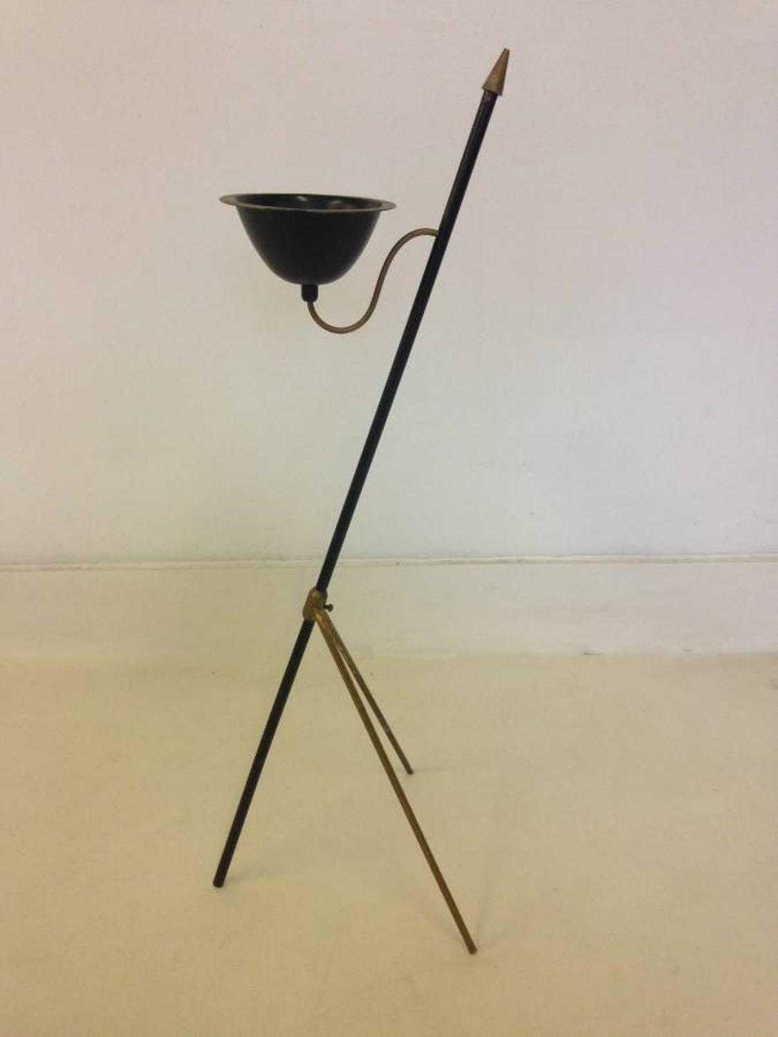 Brass and steel floor standing dish or ashtray