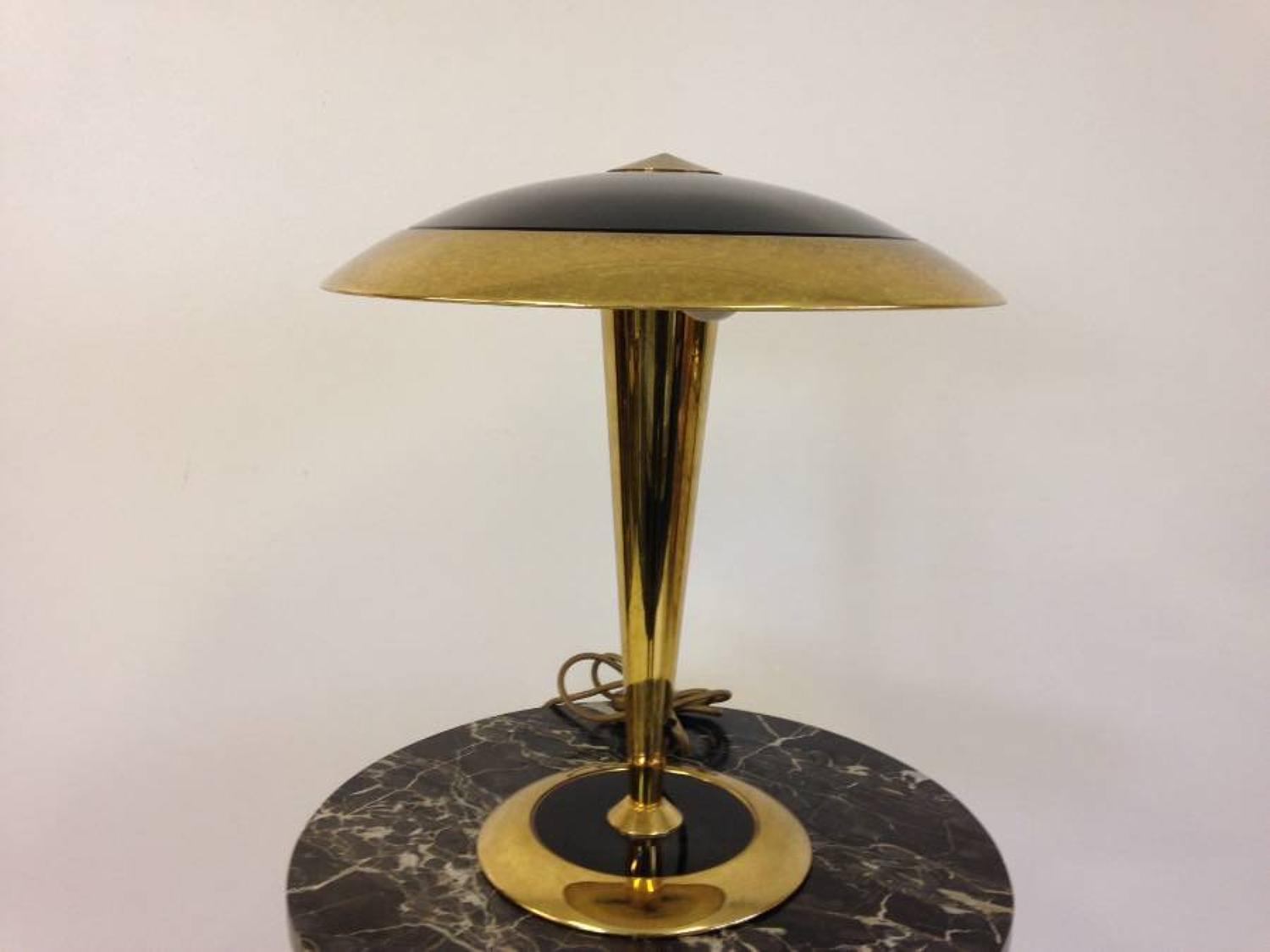 Italian brass and black glass lamp