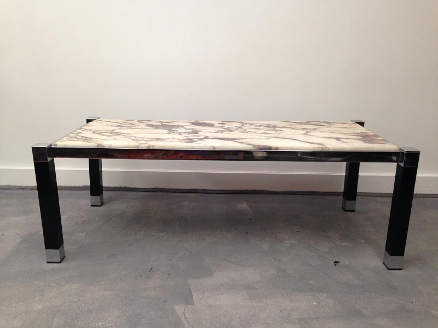 1970s chrome and white marble coffee table
