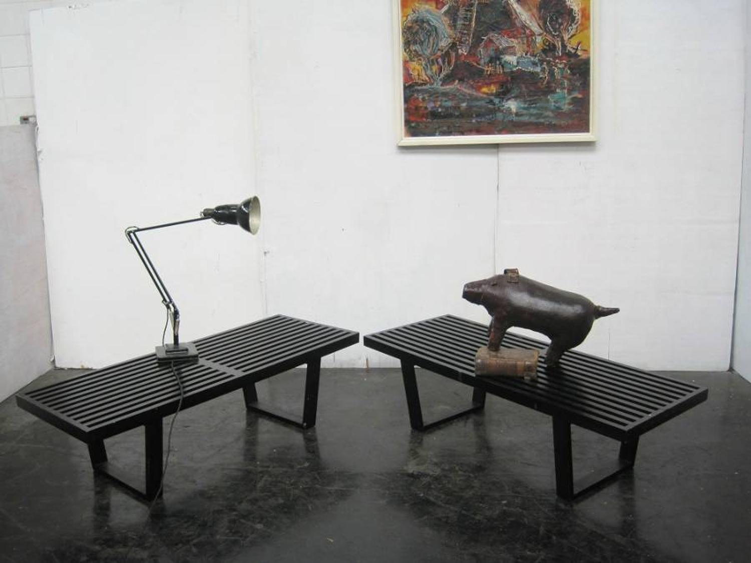 A pair of George Nelson benches