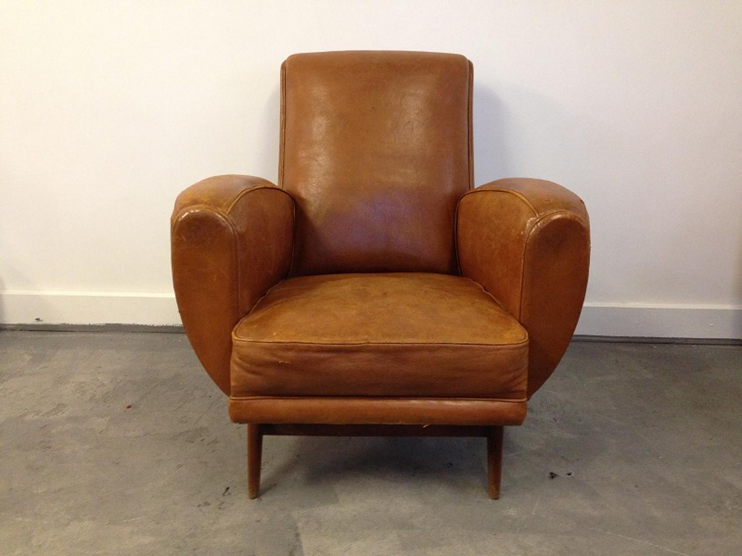 French 1950s tan leather armchair