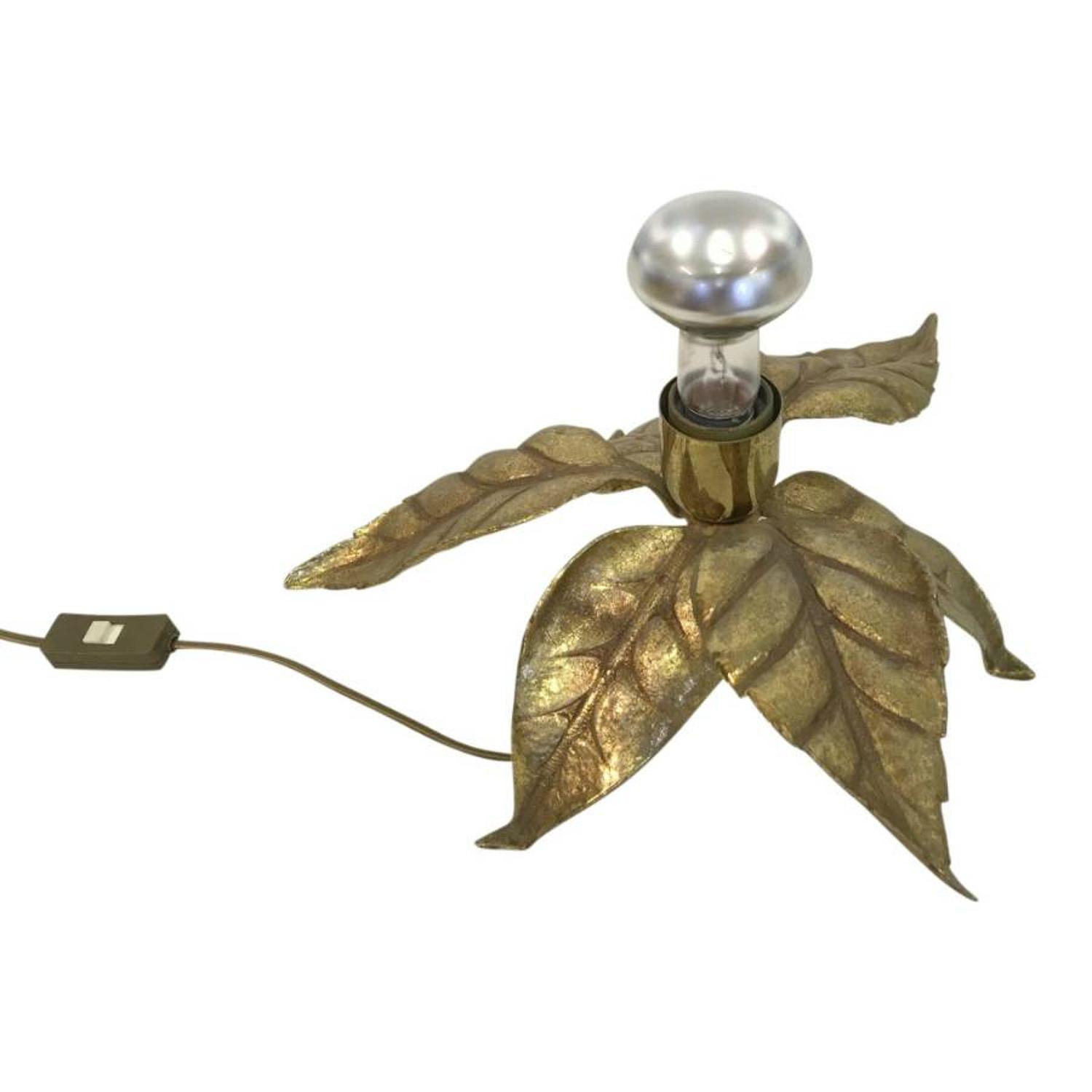 1970s brass flower table lamp by Massive