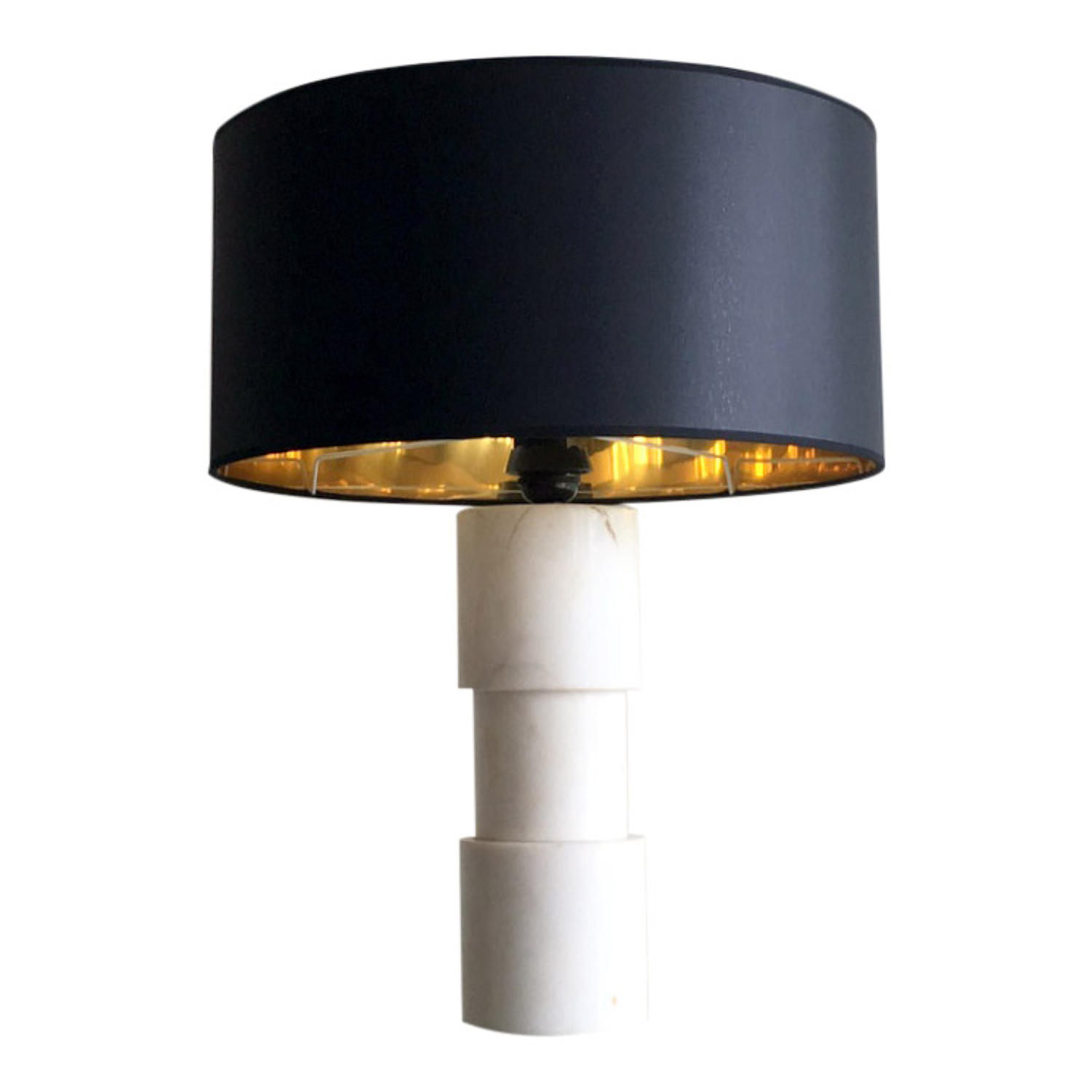 1970s Marble table lamp with reflective shade
