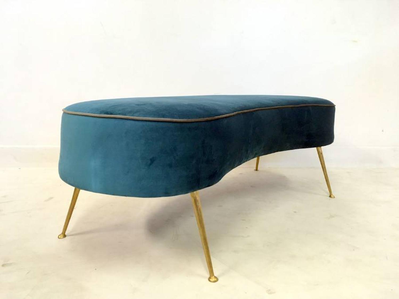 Bespoke Italian velvet stool with brass legs