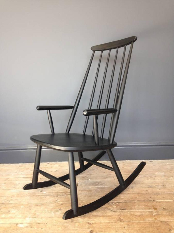 Ebonised Scandinavian rocking chair