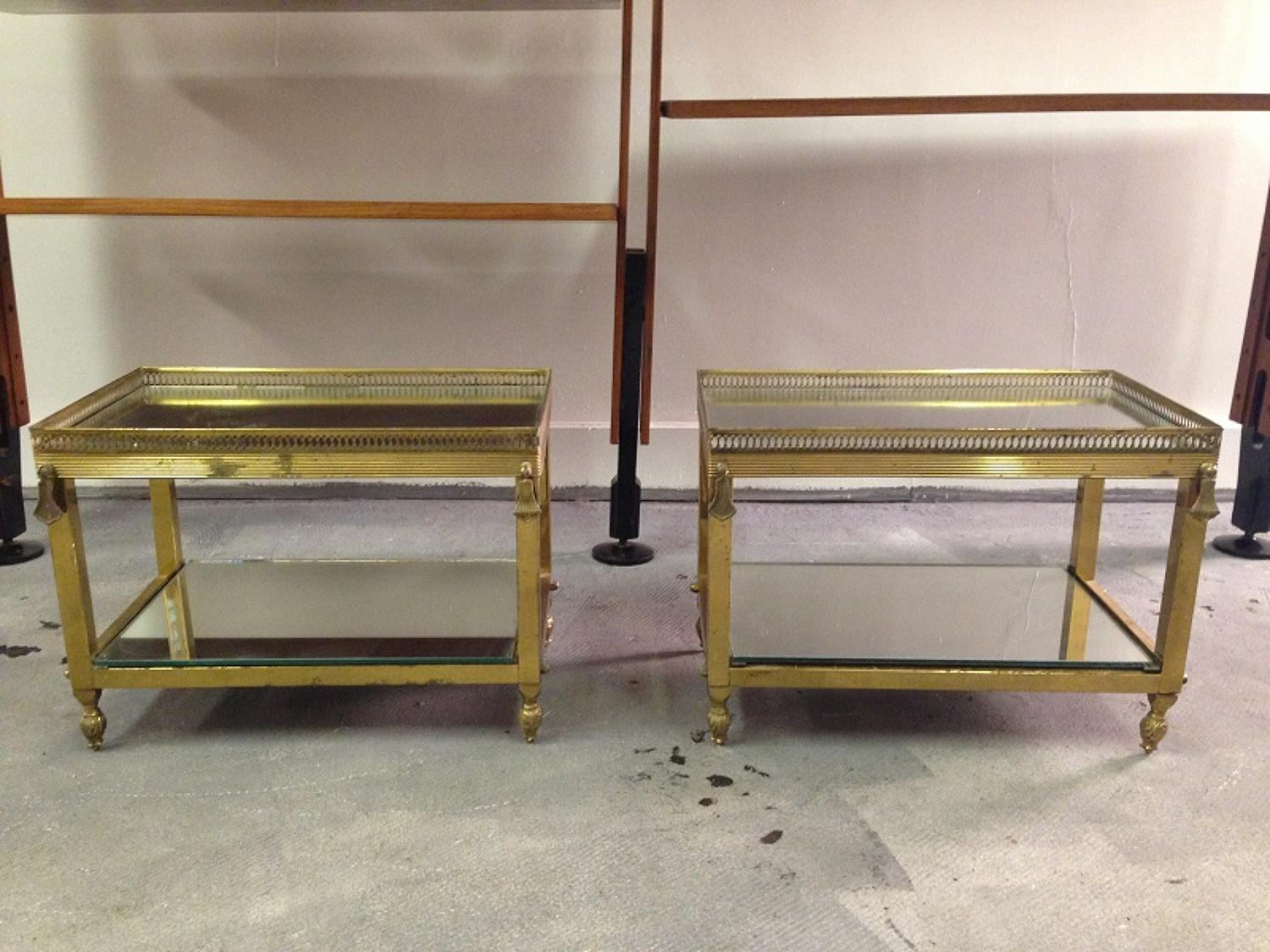 Brass and mirrored glass side tables