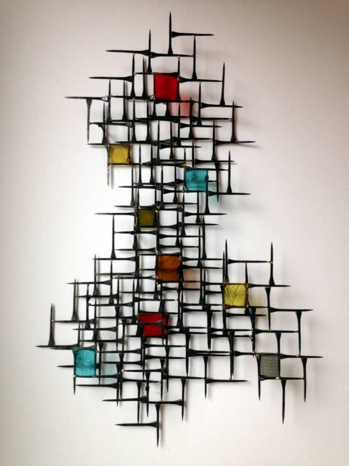 Brutalist nail and perspex wall sculpture