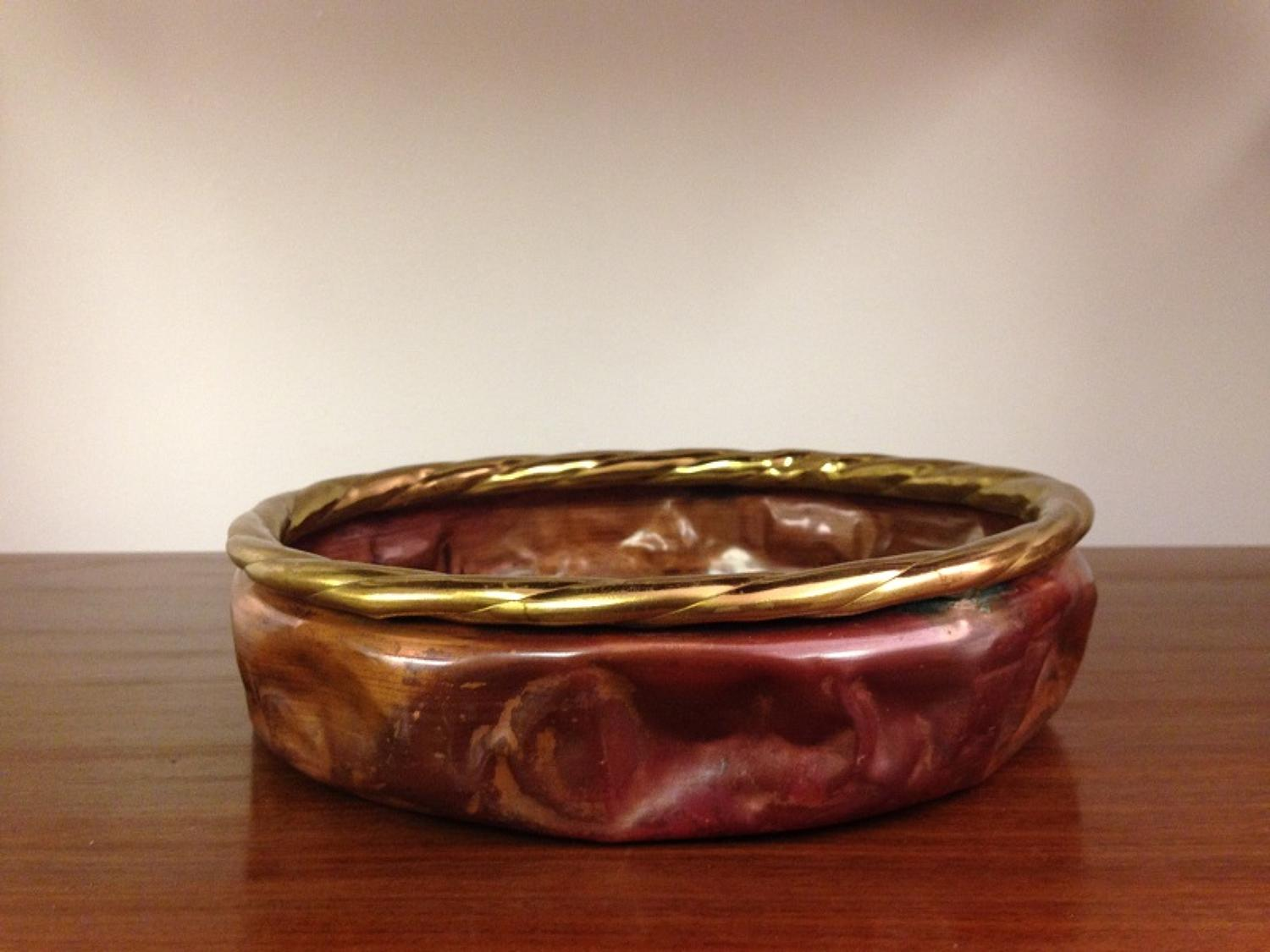 1970s gilt metal and copper bowl