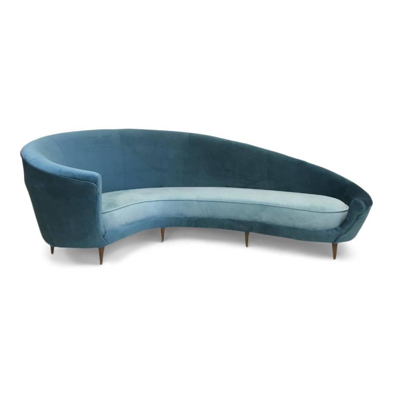 Original 1950s Italian curved sofa in velvet