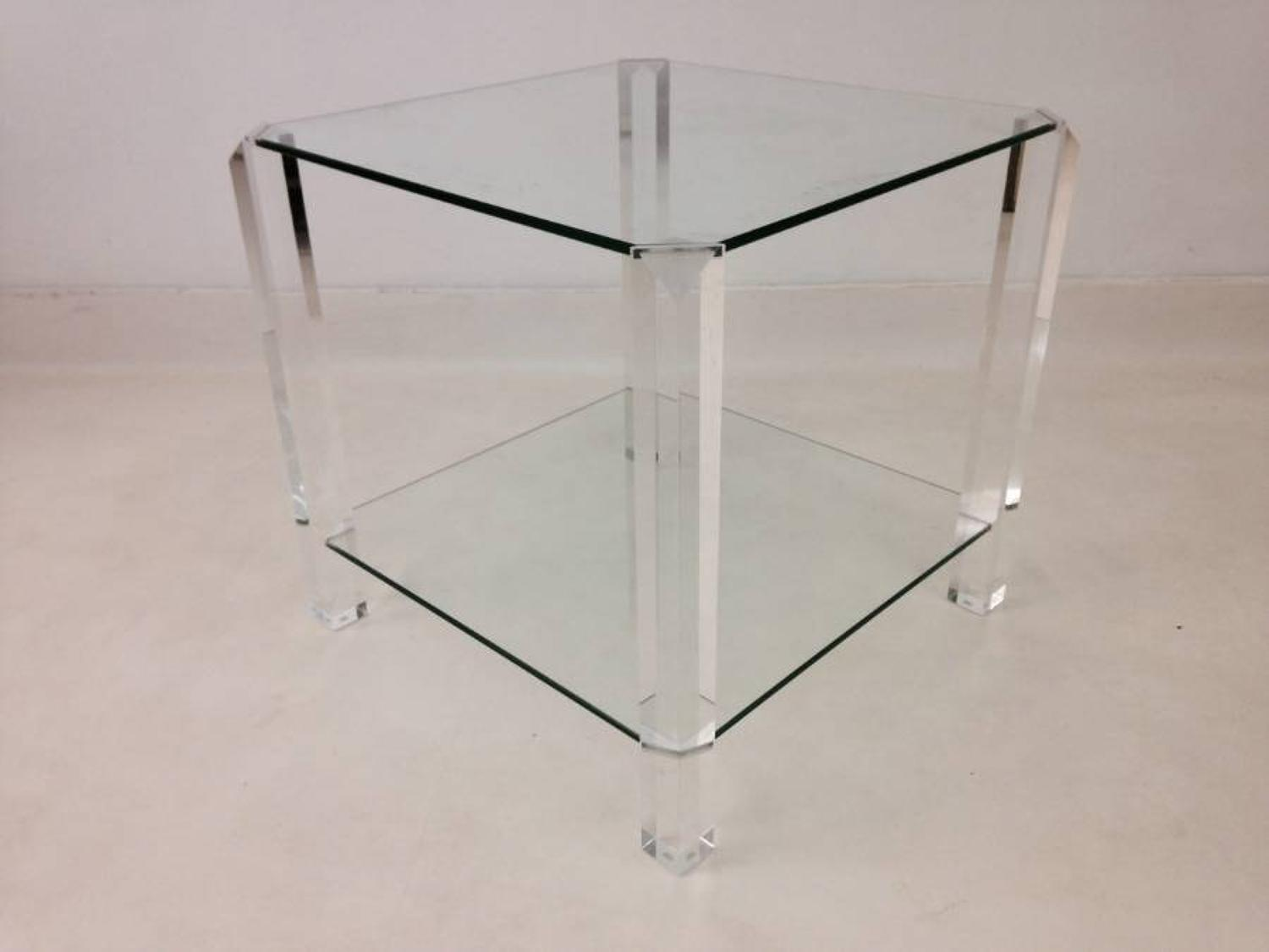 Two tier lucite and glass side table