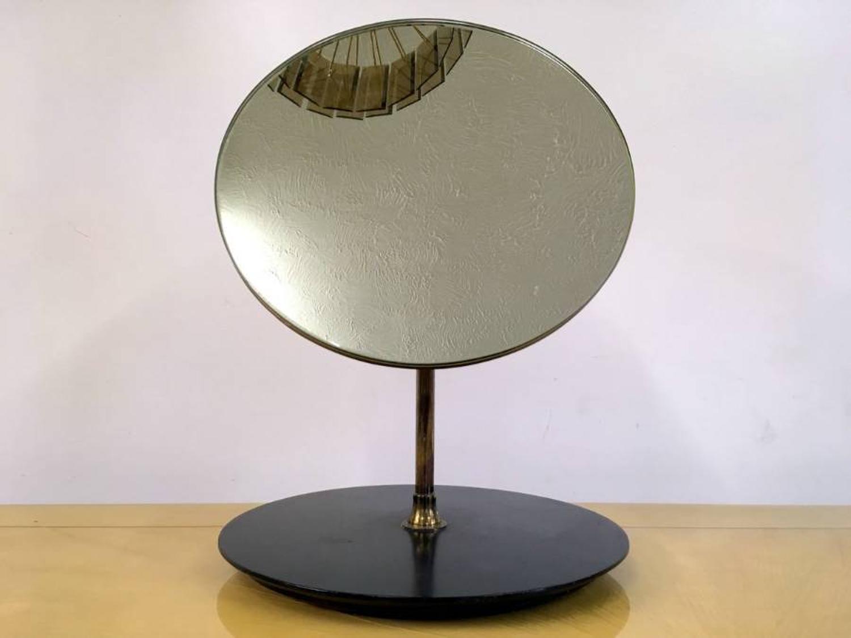 1950s vanity mirror with brass stem