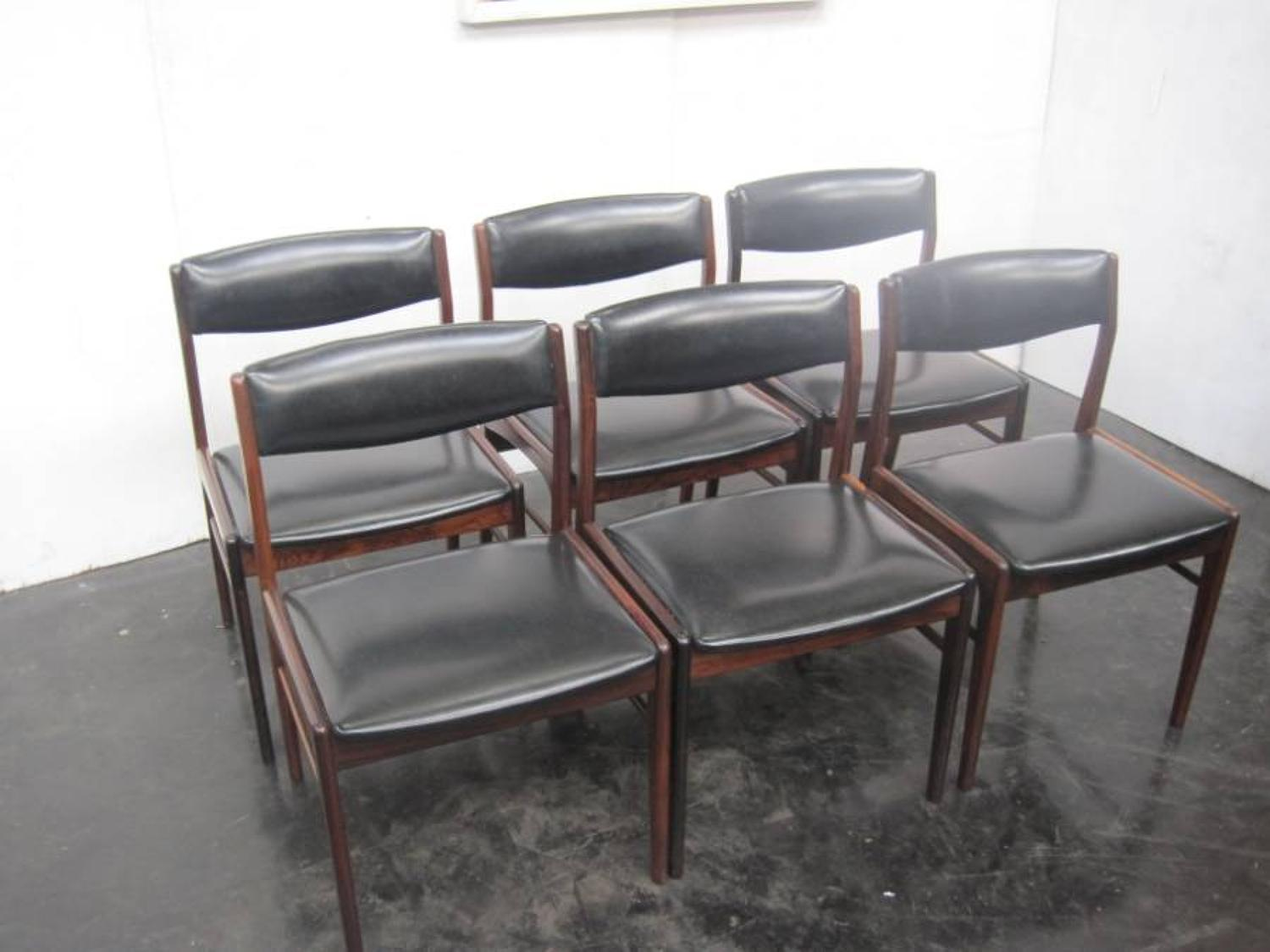 Danish rosewood and vinyl chairs