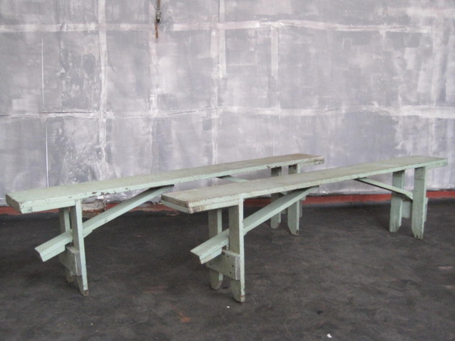 Vintage green folding benches