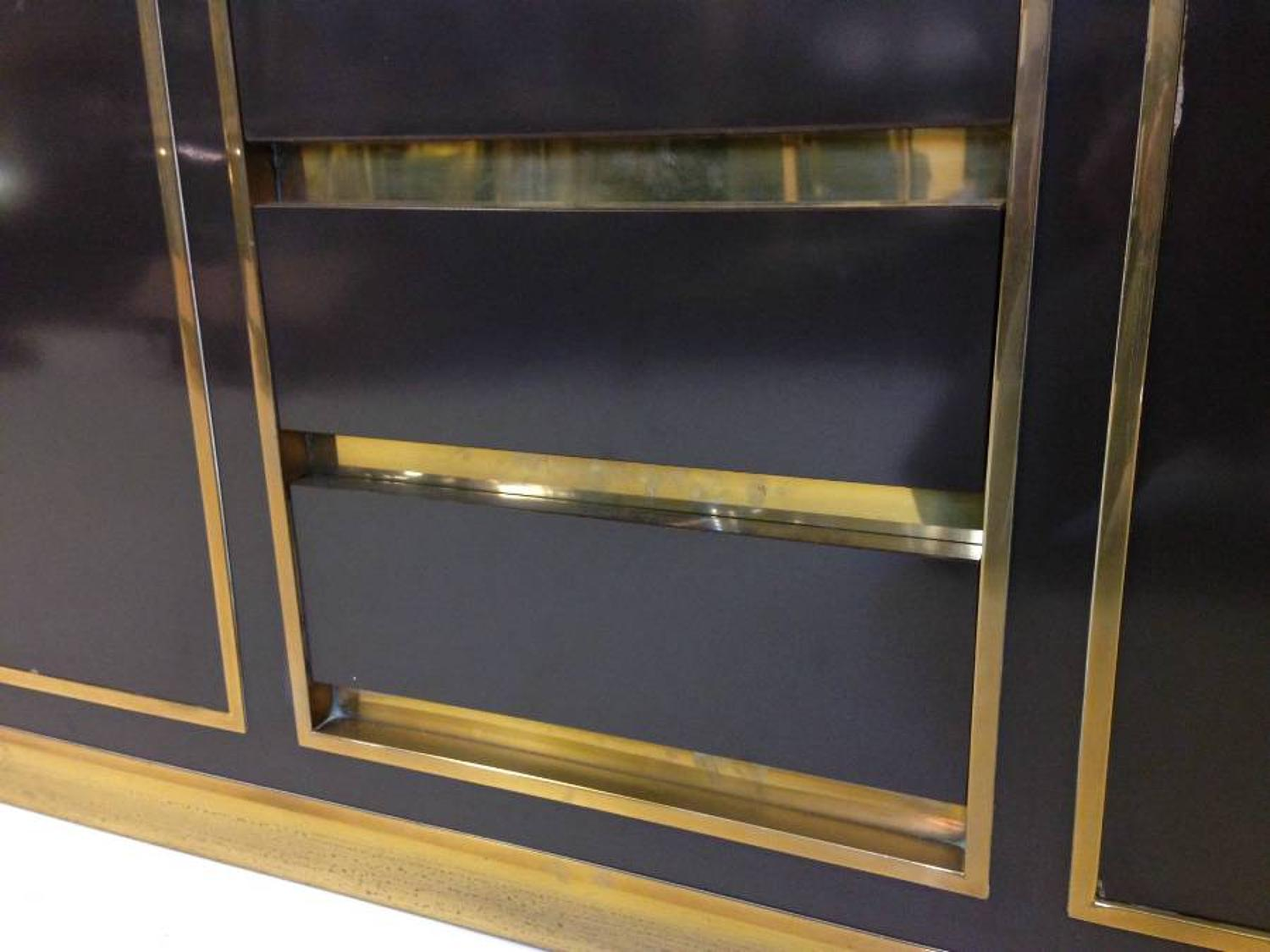 Lacquered and brass credenza
