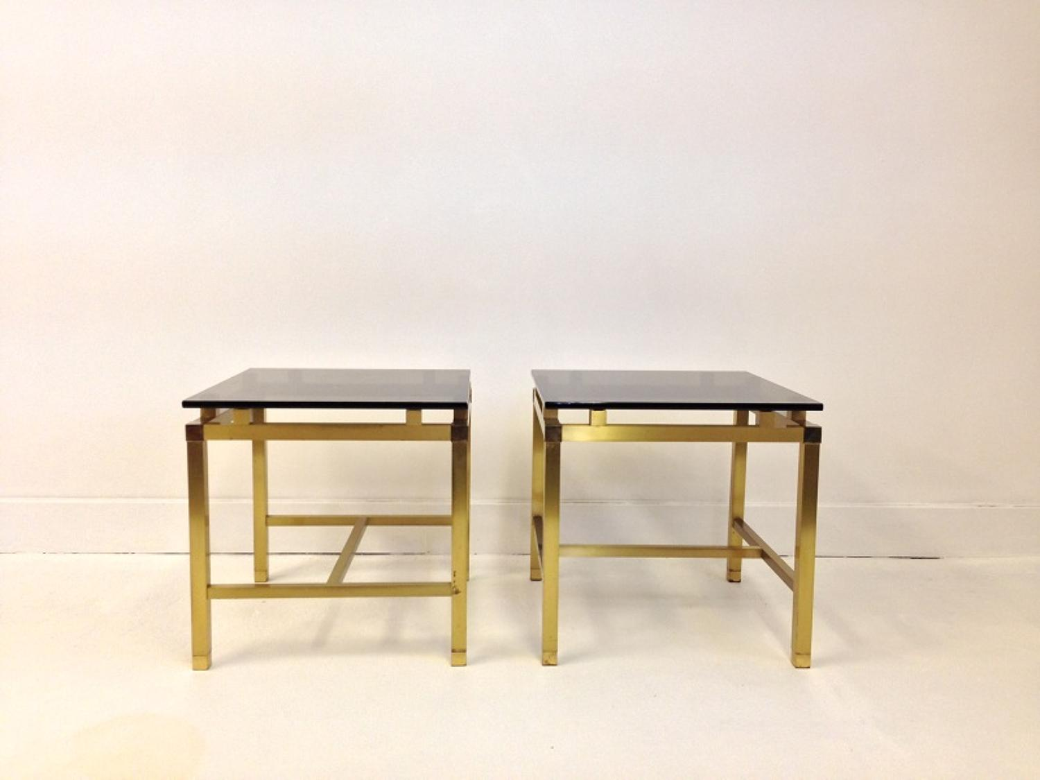 French 1970s brass and glass side tables