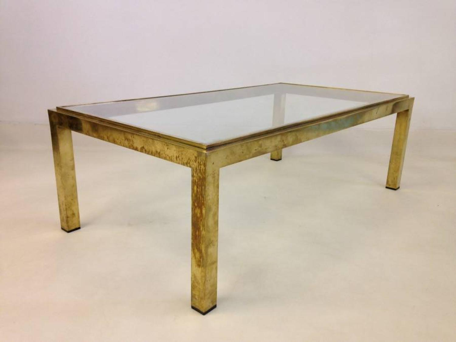 French gilt brass coffee table