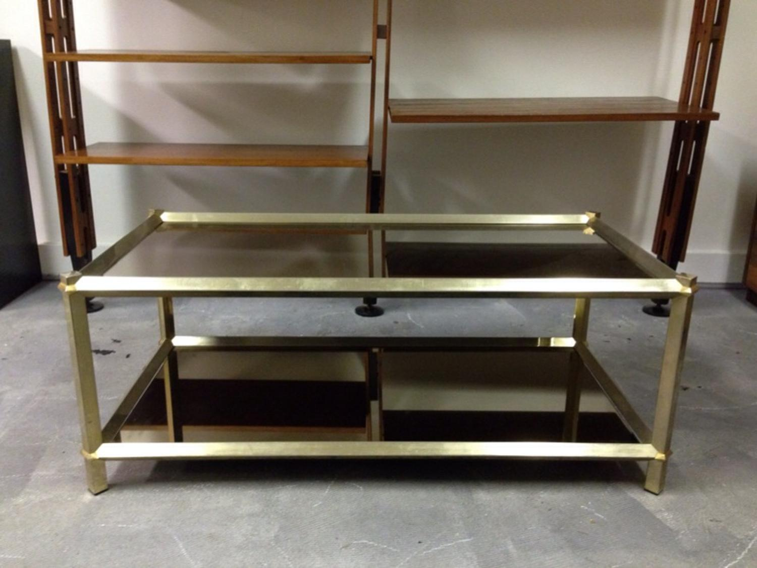Brass and mirrored glass coffee table