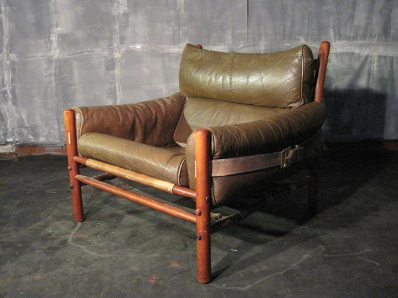 Buffalo leather Inca armchair by Arne Norell