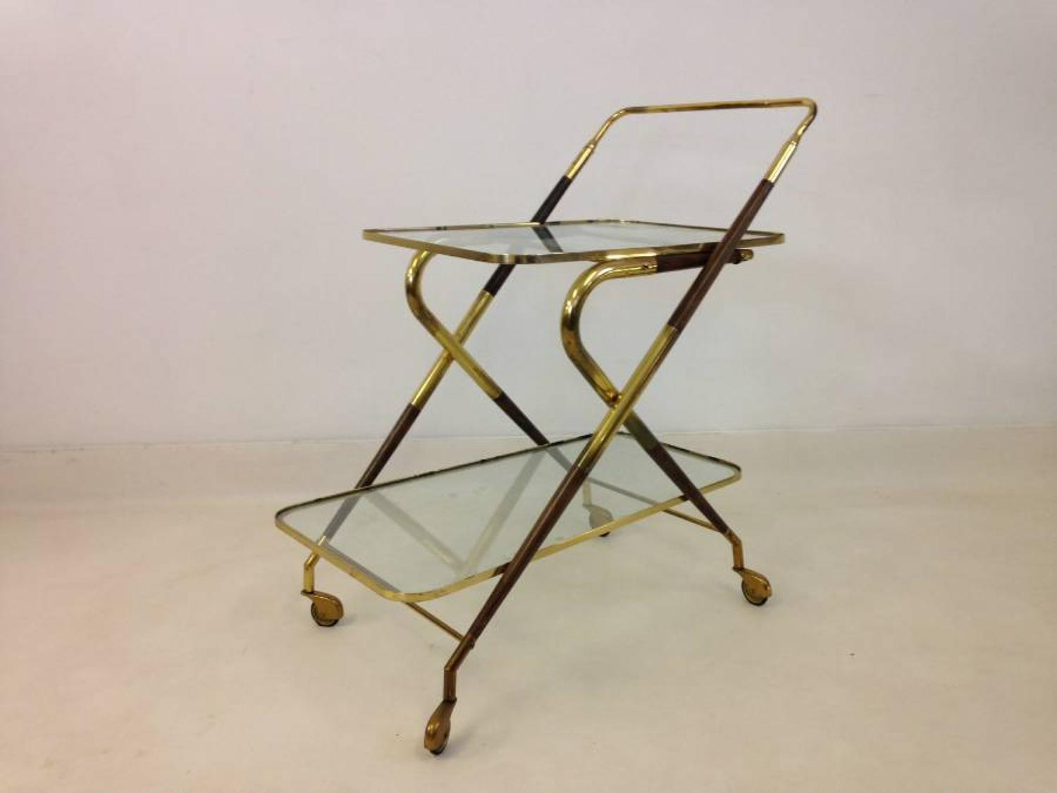 1950s brass and wood tea trolley by Cesare Lacca