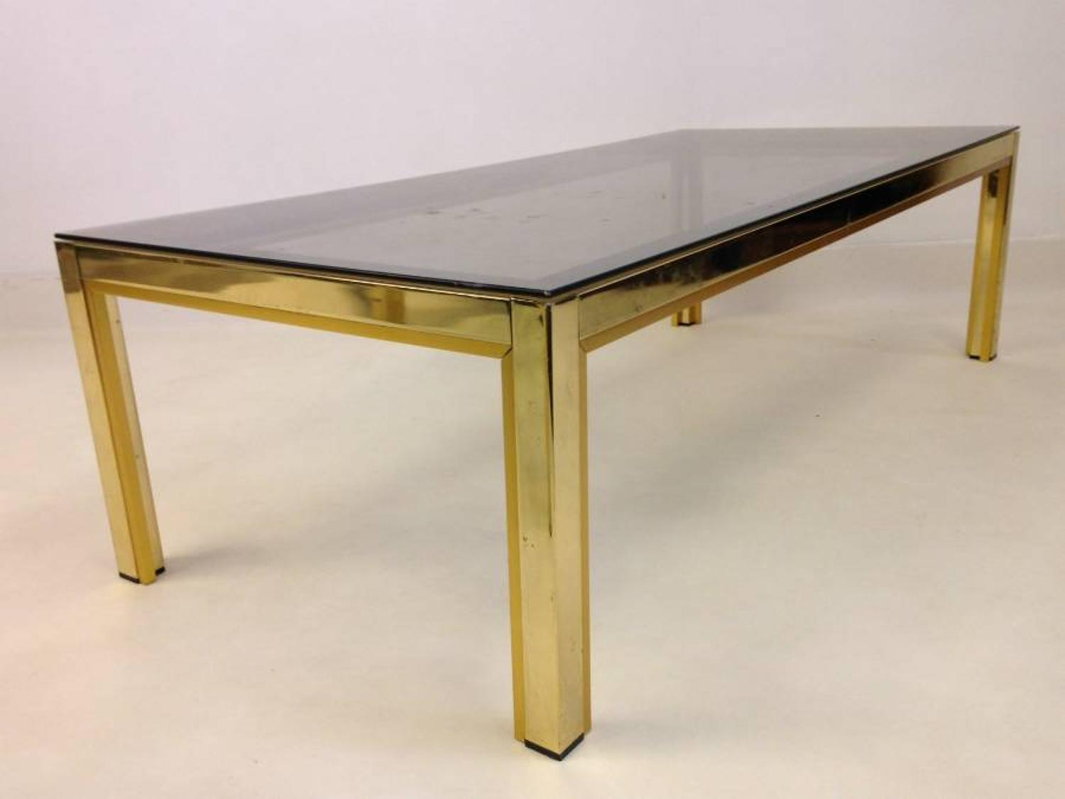 Gold lacquered metal and brass coffee table