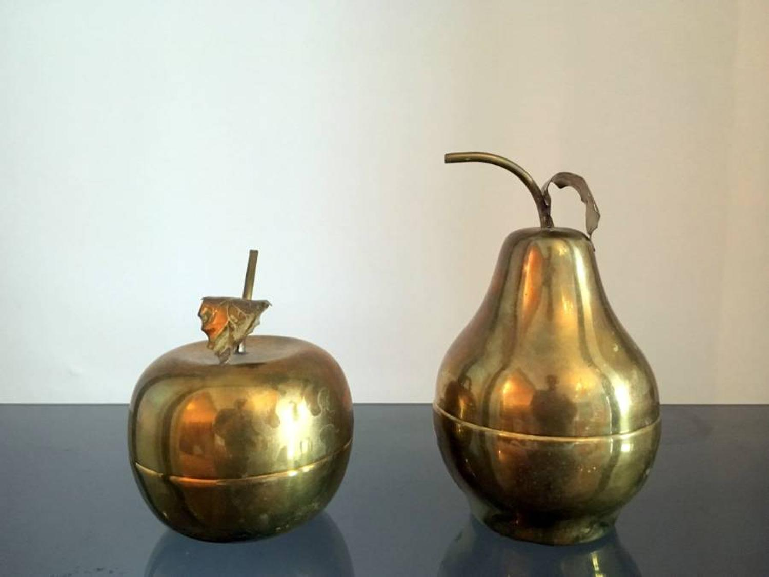 A brass apple and a brass pear dish