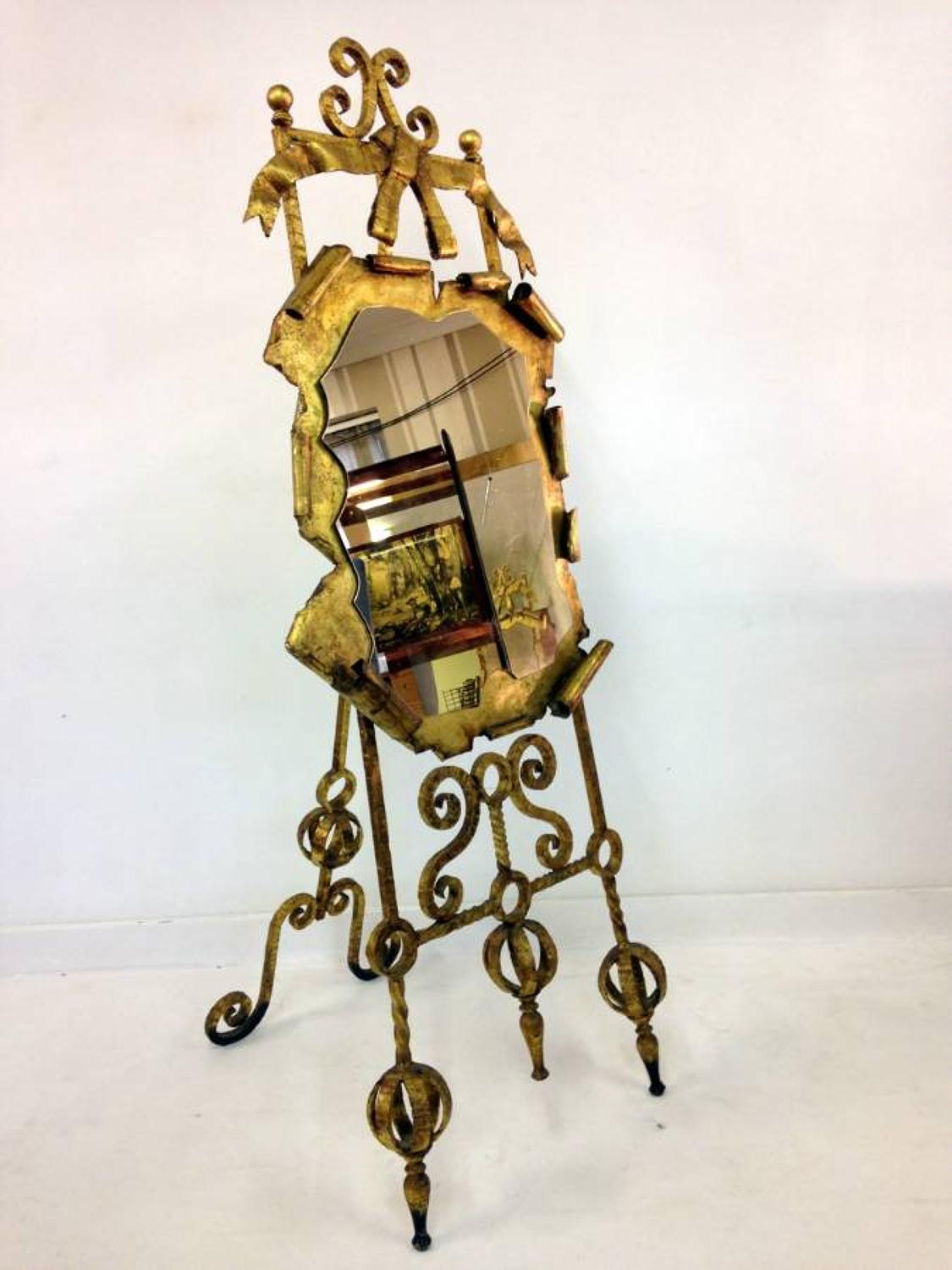 Gilded wrought iron easel with mirror