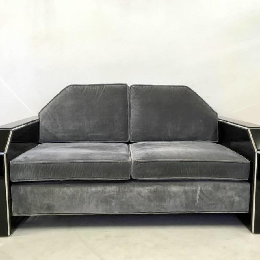 American lucite and velvet sofa